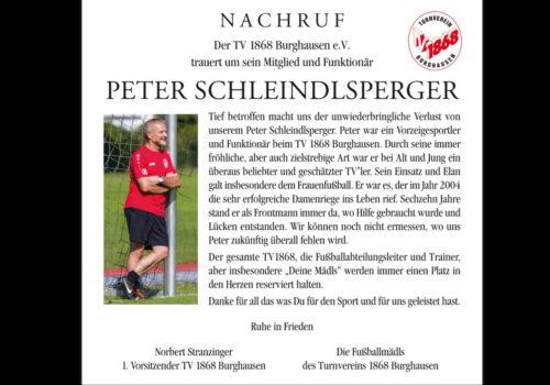 Nachruf Peter Schleindslperger 1200